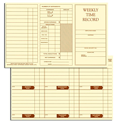 Weekly Employee Time Card - Weekly Employee Pocket Size Time Cards