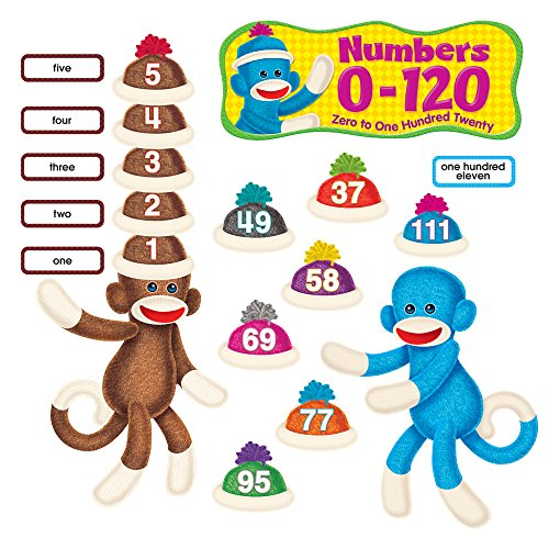 Trend Enterprises Sock Monkeys Numbers 0-120 Bulletin Board Set (T-8298) Photo #1
