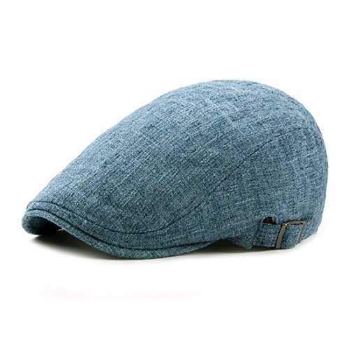 Linen newsboy Cap Solid Color Irish Hats Classic Gatsby IVY Flat Golf Driving Hat - Lake Blue (Cap Pigment Dyed Twill Solid)