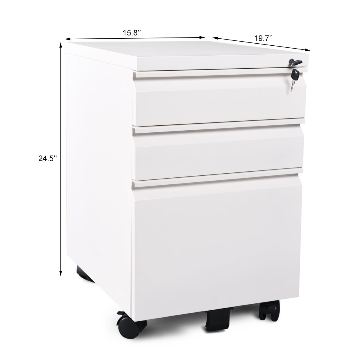 Five Drawer Filing Cabinet Amazoncom Devaise 3 Drawer Mobile File Cabinet With Lock White