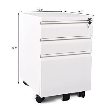 Doitpower 3 Drawer Steel File Cabinet On Wheels Furniture For Office Home Steel  Cabinet (