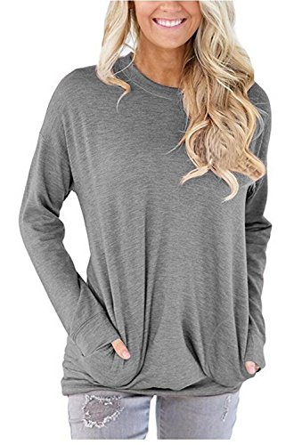 Unidear Women Casual Long Sleeve Round Neck Loose Blouses Tops with Pocket Grey X-Large