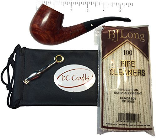 DC Crafts Pipe Bag Gift Set - Includes Dr Grabow Savoy Pipe, Czech Pipe Tool, and 100 Count Pack of Pipe Cleaners (Pipe 12) (Small Corn Cob Pipe compare prices)