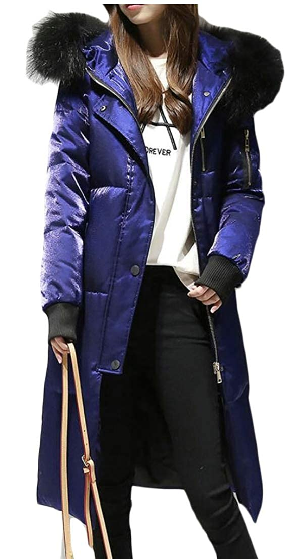 1 Qiangjinjiu Women Parka Long Winter Down Jacket Coat Faux Fur Anroak Puffer Coats