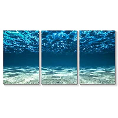 for Living Room Bedroom Home Artwork Blue Ocean Sea Paintings x 3 Panels, With a Professional Touch, Delightful Artistry