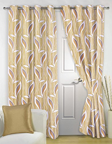 Story@Home Nature Eyelet 2 Pieces Basic Polyester Door Floral Curtains, 7 ft, Light Brown