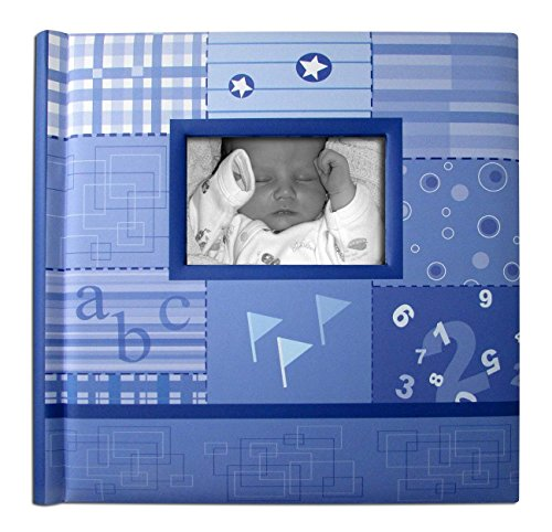 Creat A Memory - Baby Boy Photo Album + Voice Recording Scrapbook + Talking Milestone Journal + Family Memories Come Alive With Sound + Baby Shower Registry Gift + Blue + 12 x 12 in