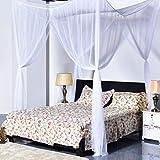 Super Buy Go Plus 4 Corner Post Bed Canopy Mosquito Net, Netting Bedding, Full/Queen/King, White