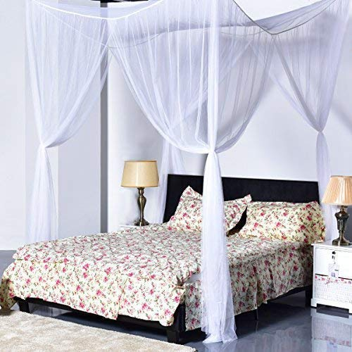 Super Buy Go Plus 4 Corner Post Bed Canopy Mosquito Net, Netting Bedding, Full/Queen/King, White