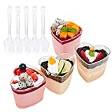 Foraineam 50 Pack 5 oz. Dessert Cup with 50 Spoons