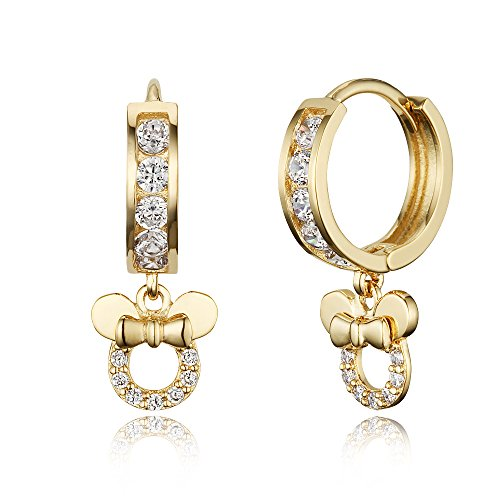 14k Gold Plated Brass Mouse Channel Cz Huggy Baby Girls Hoop Earrings