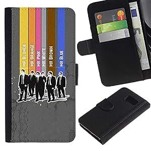 Paccase / Billetera de Cuero Caso del tirón Titular de la tarjeta Carcasa Funda para - Gentleman Colors - Samsung Galaxy S6 SM-G920