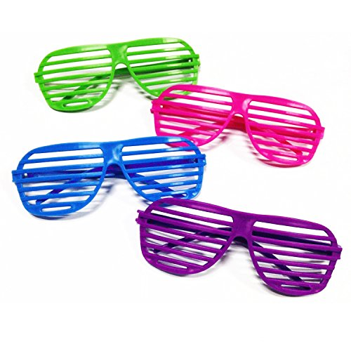 Novelty Place Neon Color Shutter Glasses 80's Party Slotted Sunglasses for Kids & Adults - 12 Pairs (4 Colors) -