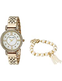 Women's AK/2928GBST Swarovski Crystal Accented Gold-Tone Watch and Beaded Bracelet Set