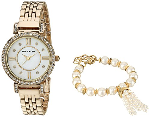 Anne Klein Women's AK/2928GBST Swarovski Crystal Accented Gold-Tone Watch and Beaded Bracelet Set