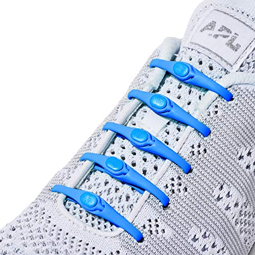 Improved HICKIES 2.0 One-Size Fits All No Tie Elastic Shoelaces- Electric Blue (14 HICKIES Laces, Works in all shoes) (Electric Blue Sneakers)