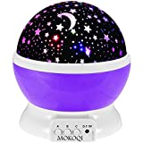 Night Lighting Lamp [ 4 LED Beads, 3 Model Light, 4.9 FT(1.5 M) USB Cord ] Romantic Rotating Cosmos Star Sky Moon Projector, Rotation Night Projection for Children Kids Bedroom(Purple)