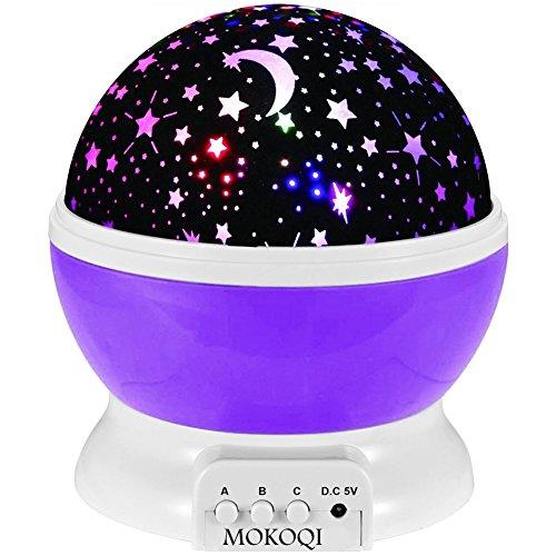 Night Lighting Lamp [ 4 LED Beads, 3 Model Light, 4.9 FT(1.5 M) USB Cord ] Romantic Rotating Cosmos Star Sky Moon Projector, Rotation Night Projection for Children Kids Bedroom(Purple)