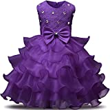 NNJXD Girl Dress Kids Ruffles Lace Party Wedding Dresses Size (110) 3-4 Years Deep Purple