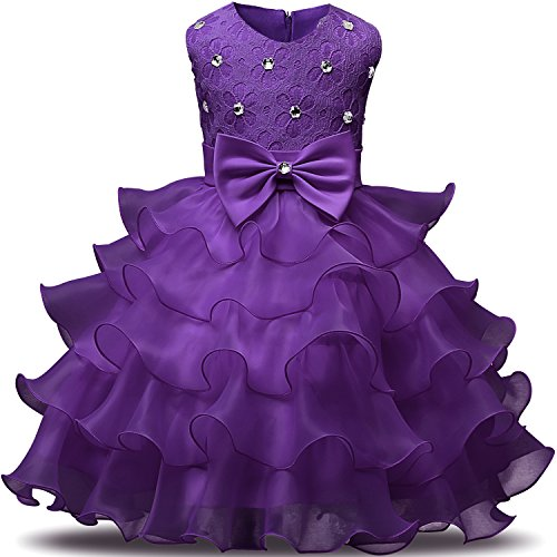 NNJXD Girl Dress Kids Ruffles Lace Party Wedding Dresses Size (140) 6-7 Years Deep
