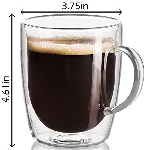 18 oz Large Coffee Mug - Double Wall Insulated Glass, Unique Gift set of 2. Keeps Hot Or Cold Drinks Longer - Clear Coffee Mugs - JECOBI by JECOBI (Image #1)
