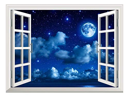 Removable Wall Sticker/Wall Mural - Super Moon in Starry Sky with Clouds and Sea | Creative Window View Home Decor/Wall Decor - 24