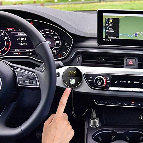 DEEWAZ Bluetooth Receiver Car Kit Built-in Noise Filter 3.5mm Jack Bluetooth Aux FM Transmitter Hands-Free Speaker Dual Usb Car Adapter Wireless Radio Audio & 3M Magnetic Mounts Base (Silver) by DEEWAZ (Image #1)