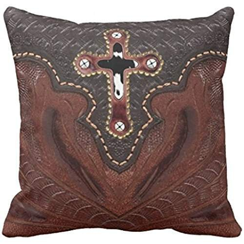 Print Cowhide Western Cross on Brown Leather Pattern Pillow
