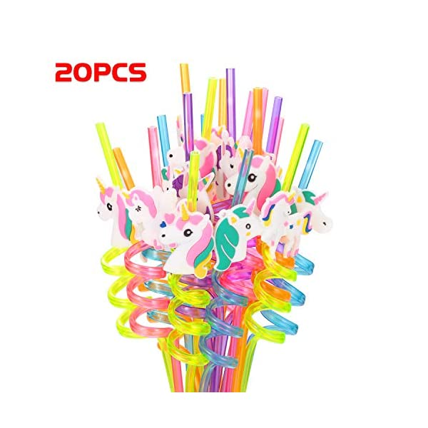Reusable Unicorn Drinking Plastic Straws + Unicorn Temporary Tattoos for Girls | Unicorn Birthday Party Supplies… 6