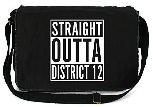 Tenacitee Straight Outta District 12 Black Raw Edge Canvas Messenger Bag - District Messenger