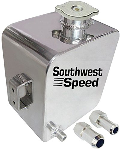 NEW FABRICATED POLISHED ALUMINUM RADIATOR EXPANSION WATER TANK WITH CAP, SQUARE, 5.3 PINTS, 85 OUNCES, RESERVOIR