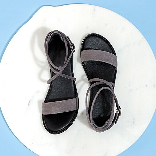 Tacchi da alti Grigio basso alla 35 tacco casual Pantofole Sandali moda estivi piatti a Sandali tacco DHG con donna Sandali basso Cxq1pwST