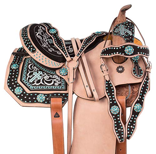 """AceRugs 14"""" 15"""" 16"""" TURQUOISE CROSS WESTERN BARREL RACING LEATHER HORSE SADDLE TACK HEADSTALL REINS BREAST COLLAR (16)"""