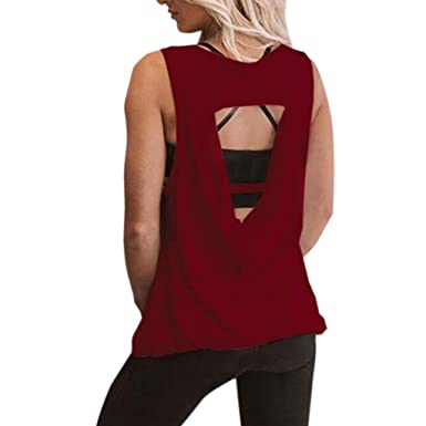 Amazon.com: Womens Loose Hollow Out Backless Breathable ...