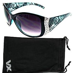 Vox Women's Sunglasses Designer Sport Fashion Rhinestone Vintage Floral Eyewear – Blue Frame – Smoke Lens