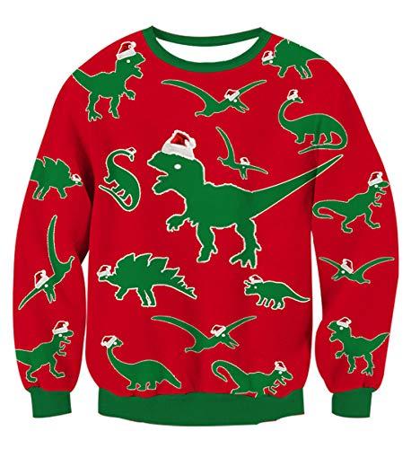 (Idgreatim Mens Dinosaur Printed Pullover Ugly Christmas Sweater Long Sleeve Sweatshirt Shirts)