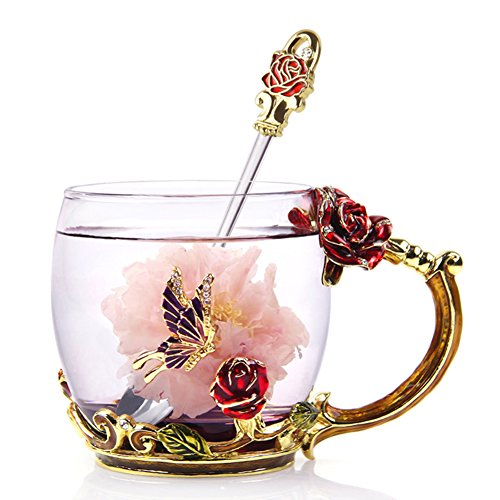 NBWUYUE Mother's Day Gifts Gor Mom Unique Butterfly Rose Flower Glass Coffee Mugs Tea Cups Valentine's Day Birthday 2018 New Year Gift for Christmas Decoration Wedding Gift Short (Butterfly Gifts Christmas)