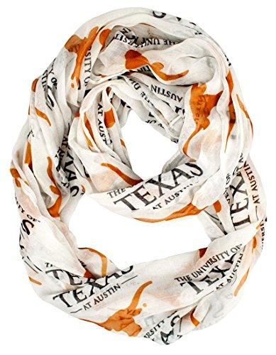NCAA Texas Longhorns Sheer Infinity Scarf, One Size, White