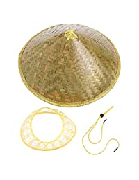 Dynamovolition Chinese Oriental Coolie Sun Hat Brimmed Bamboo Straw Hat Tourism Rain Cap Cone Conical Farmer Unisex Fishing Rice Hat