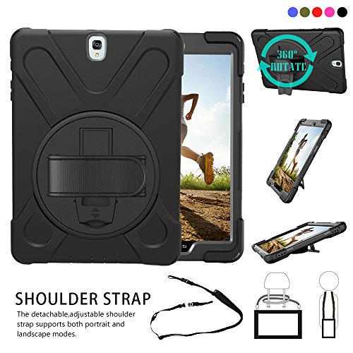 Galaxy-Tab-S3-97-T820-Case-Shock-AbsorptionHigh-Impact-Resistant-Heavy-Duty-Armor-Cover-With-Handstrap-strap-shoulder-belt-Rubber-Carry-Work-Holder-for-Samsung-SM-T820-T825-97-inch-tabletBlack