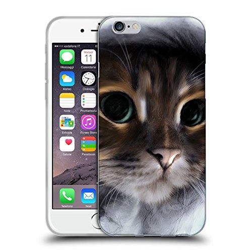 """Just Phone Cases Coque de Protection TPU Silicone Case pour // V00004197 Chaton dans un capot gris // Apple iPhone 6 4.7"""""""