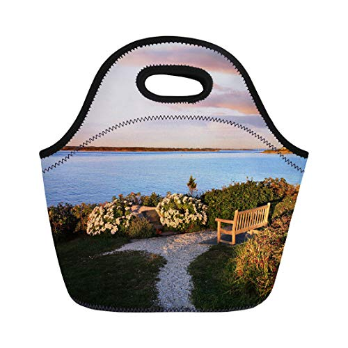 (Semtomn Neoprene Lunch Tote Bag Looking Towards Martha Vineyard From Nobska Point Cape Cod Reusable Cooler Bags Insulated Thermal Picnic Handbag for Travel,School,Outdoors,Work)