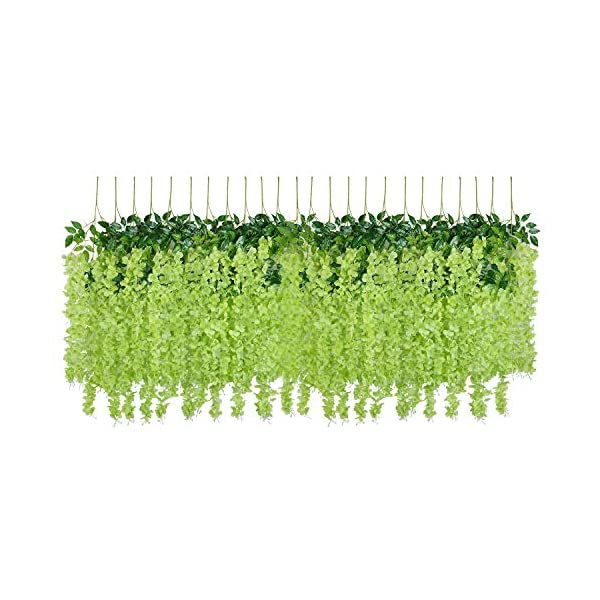 U'Artlines 24 Pack 3.6 Feet/Piece Artificial Fake Wisteria Vine Ratta Hanging Garland Silk Flowers String Home Party Wedding Decor Extra Long and Thick (24, Green)