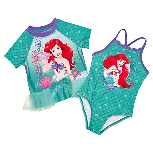 (Disney The Little Mermaid Ariel Girls Rash Guard Swimsuit Set (4T) Green)
