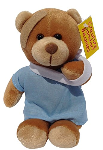 Creature Comfort 8 inch Feel Better Patient Teddy Bear Beanie With Arm Sling And Bandage