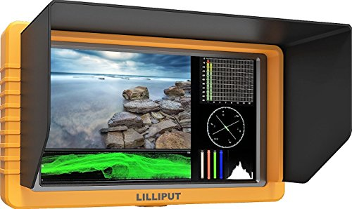LILLIPUT 5'' Q5 FULL HD Metal Slim Camera-top monitor 1000:1 contrast SDI/HDMI cross conversion F970+LP-E6 battery plate Waveform PIP mode Column (YRGB peak) time code by VIVITEQ by Lilliput
