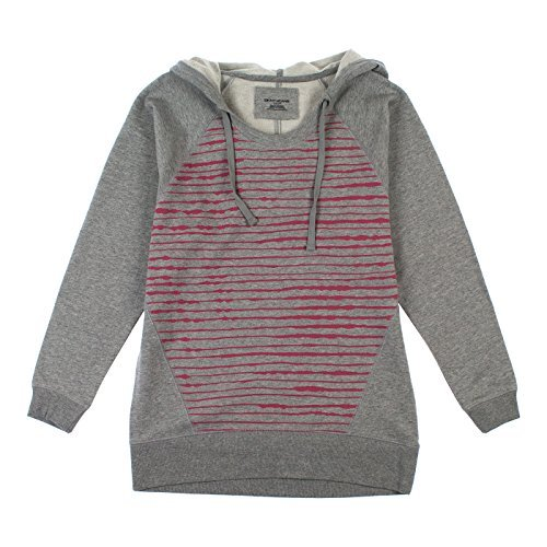 (DKNY Jeans Womens Relaxed Fit Long Waisted Hoodie M Gray & Red)