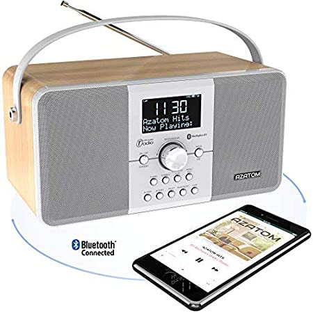 AZATOM Multiplex DAB Digital FM Radio Bluetooth Battery Alarm Clock: Amazon.es: Electrónica