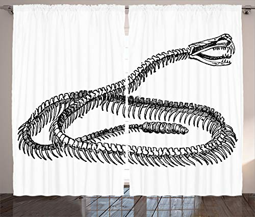 Ambesonne Reptile Decor Collection, Black and White Reptile Skeleton Illustration Moving on the Ground Wild Exotic Snake, Living Room Bedroom Curtain 2 Panels Set, 108 X 84 Inches, Black White