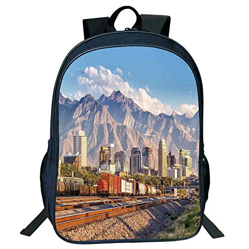 DKFDS Backpacks Unisex School Students Black Landscape,Downtown Salt Lake City Skyline in Utah USA Railroads Mountains Buildings Urban,Multicolor ()